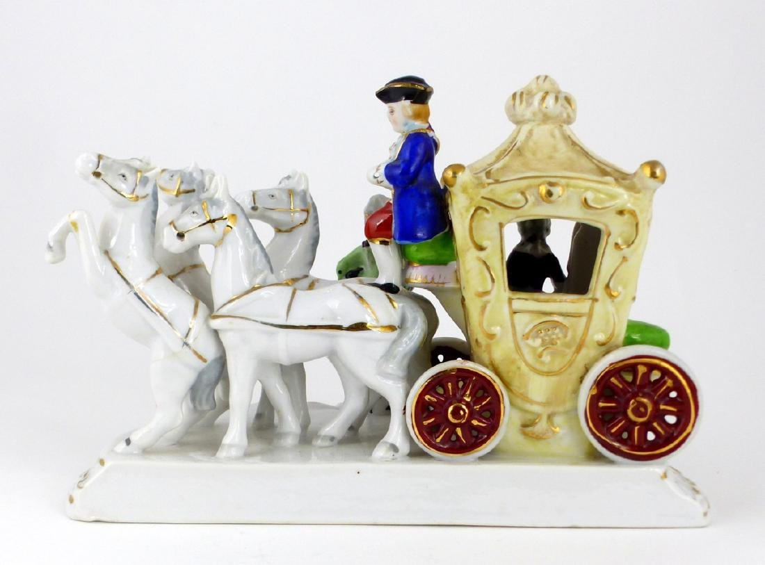 GERMAN PORCELAIN HORSE & CARRIAGE PORCELAIN GROUP - 4