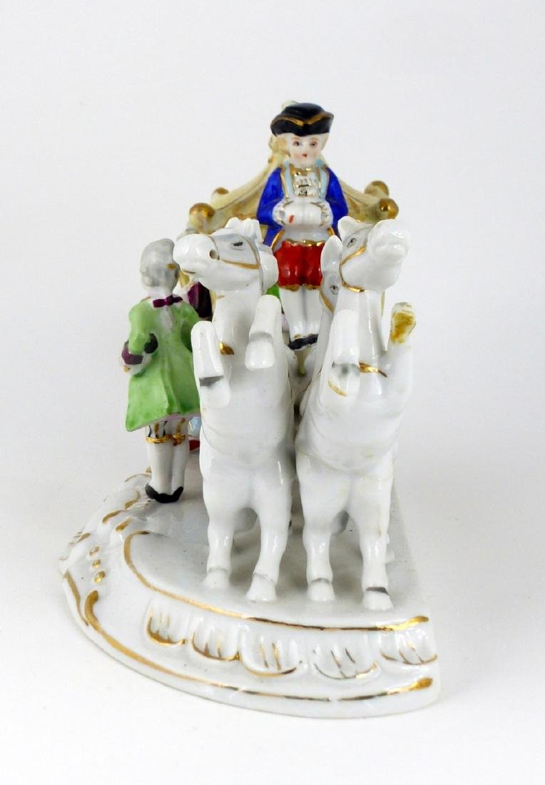 GERMAN PORCELAIN HORSE & CARRIAGE PORCELAIN GROUP - 5