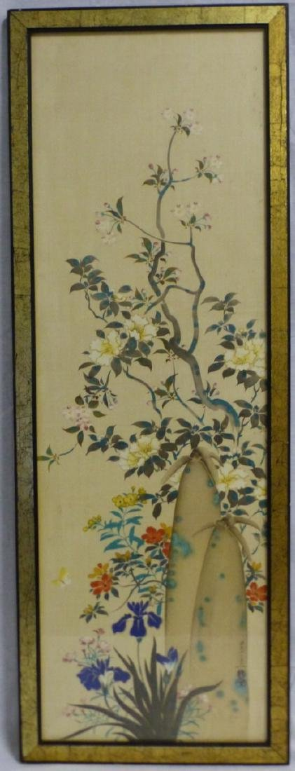 CHINESE WATERCOLOR PAINTING OF FLOWERS SIGNED