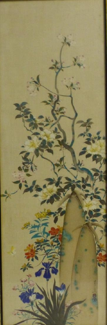 CHINESE WATERCOLOR PAINTING OF FLOWERS SIGNED - 2