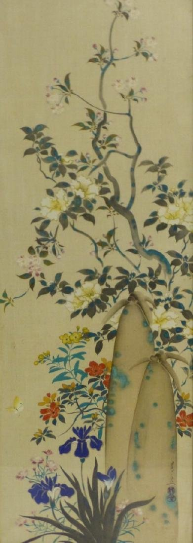 CHINESE WATERCOLOR PAINTING OF FLOWERS SIGNED - 3