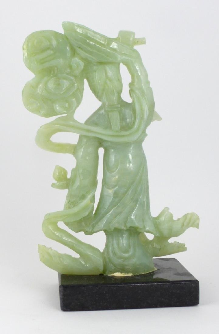 CHINESE CARVED JADE MAIDEN - 5