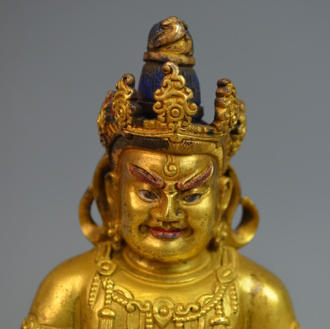 CHINESE GOLD GILT BRONZE BUDDHA STATUE - 2