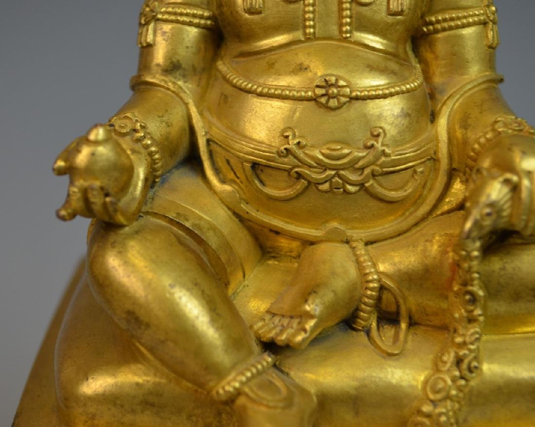 CHINESE GOLD GILT BRONZE BUDDHA STATUE - 6