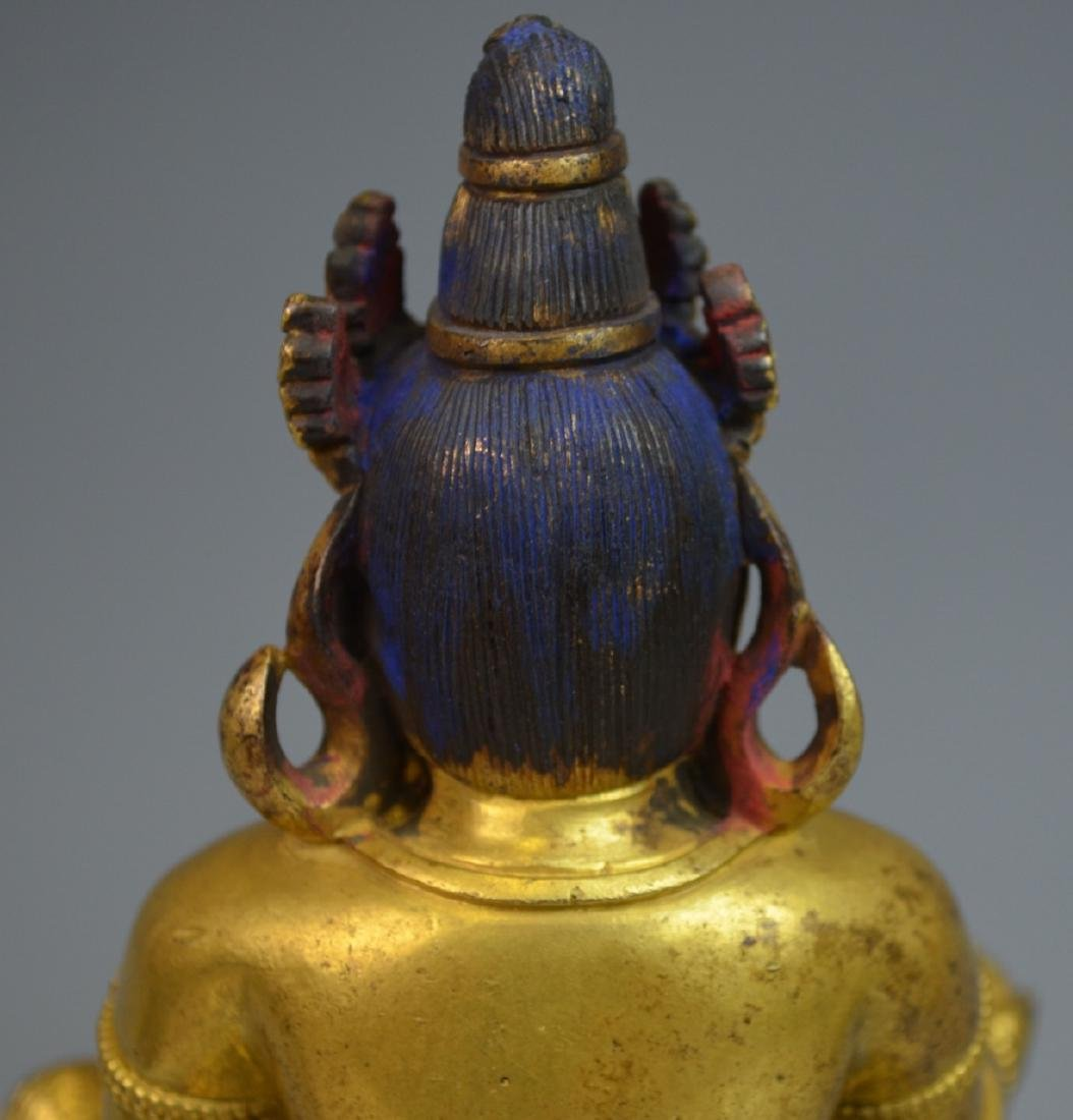 CHINESE GOLD GILT BRONZE BUDDHA STATUE - 7