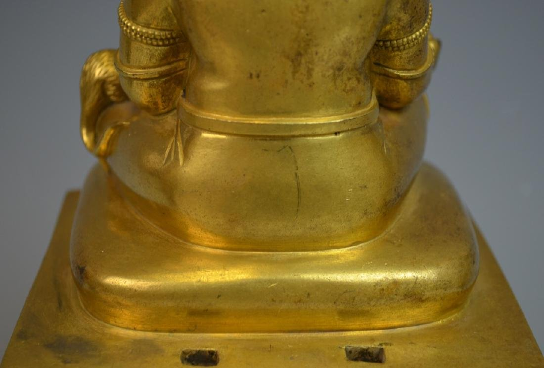 CHINESE GOLD GILT BRONZE BUDDHA STATUE - 8