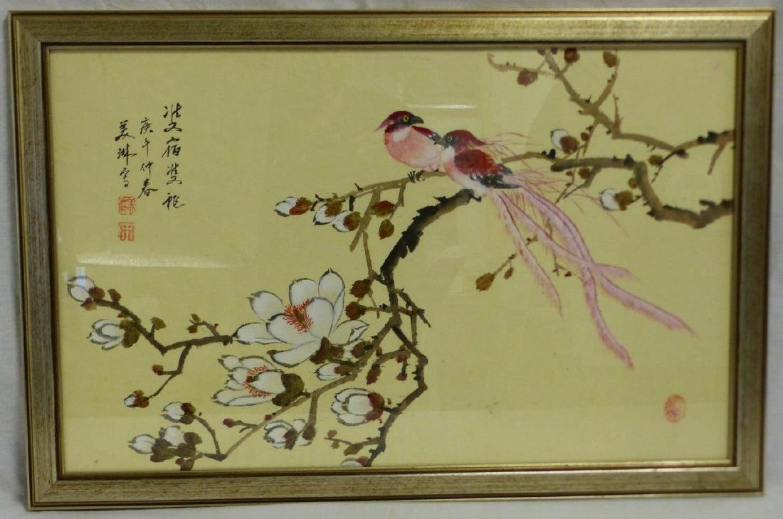 CHINESE WATERCOLOR PAINTING BIRDS & FLOWERS