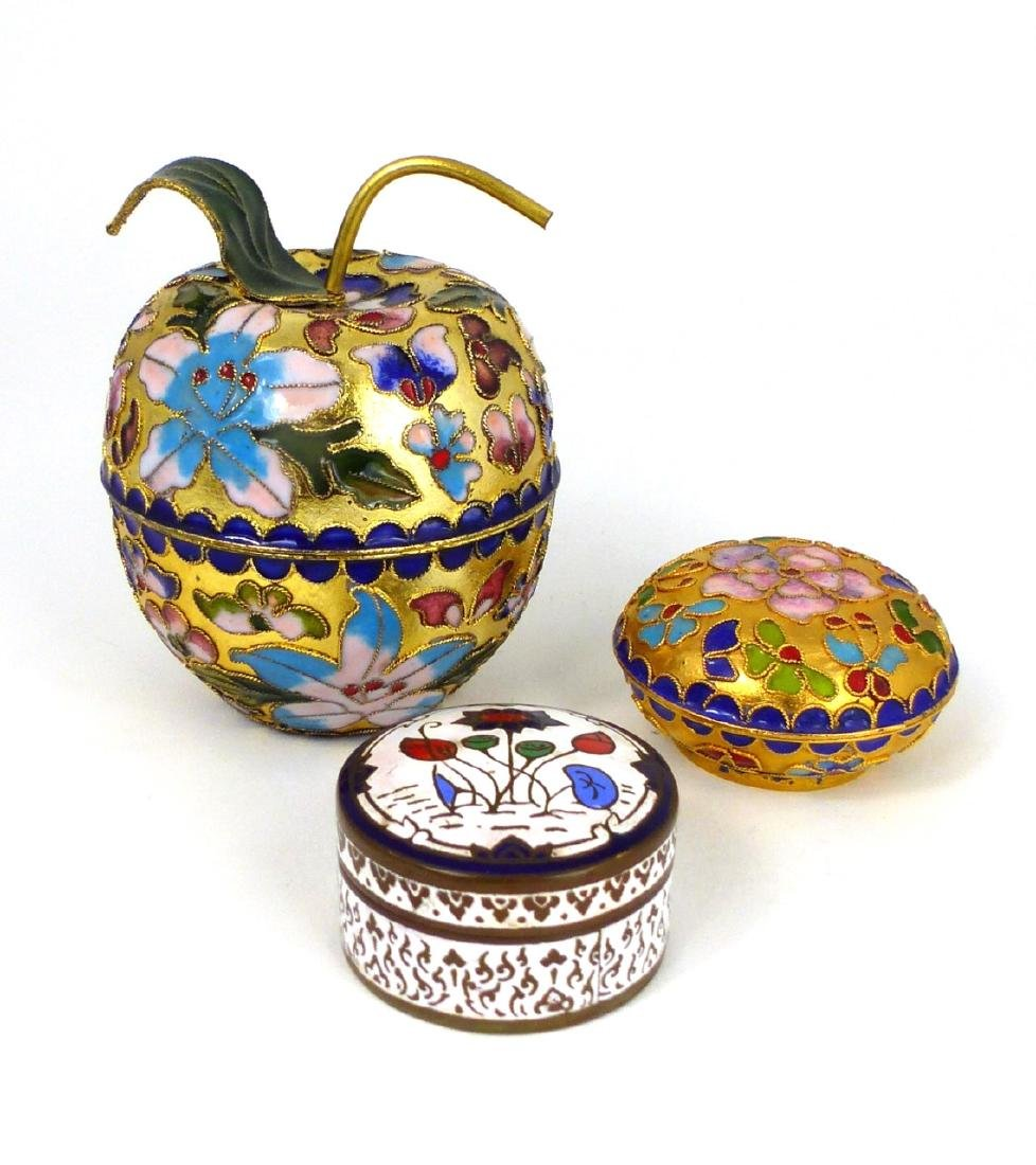 3pc CHINESE CHAMPLEVE & THAI ENAMEL COVERED BOXES