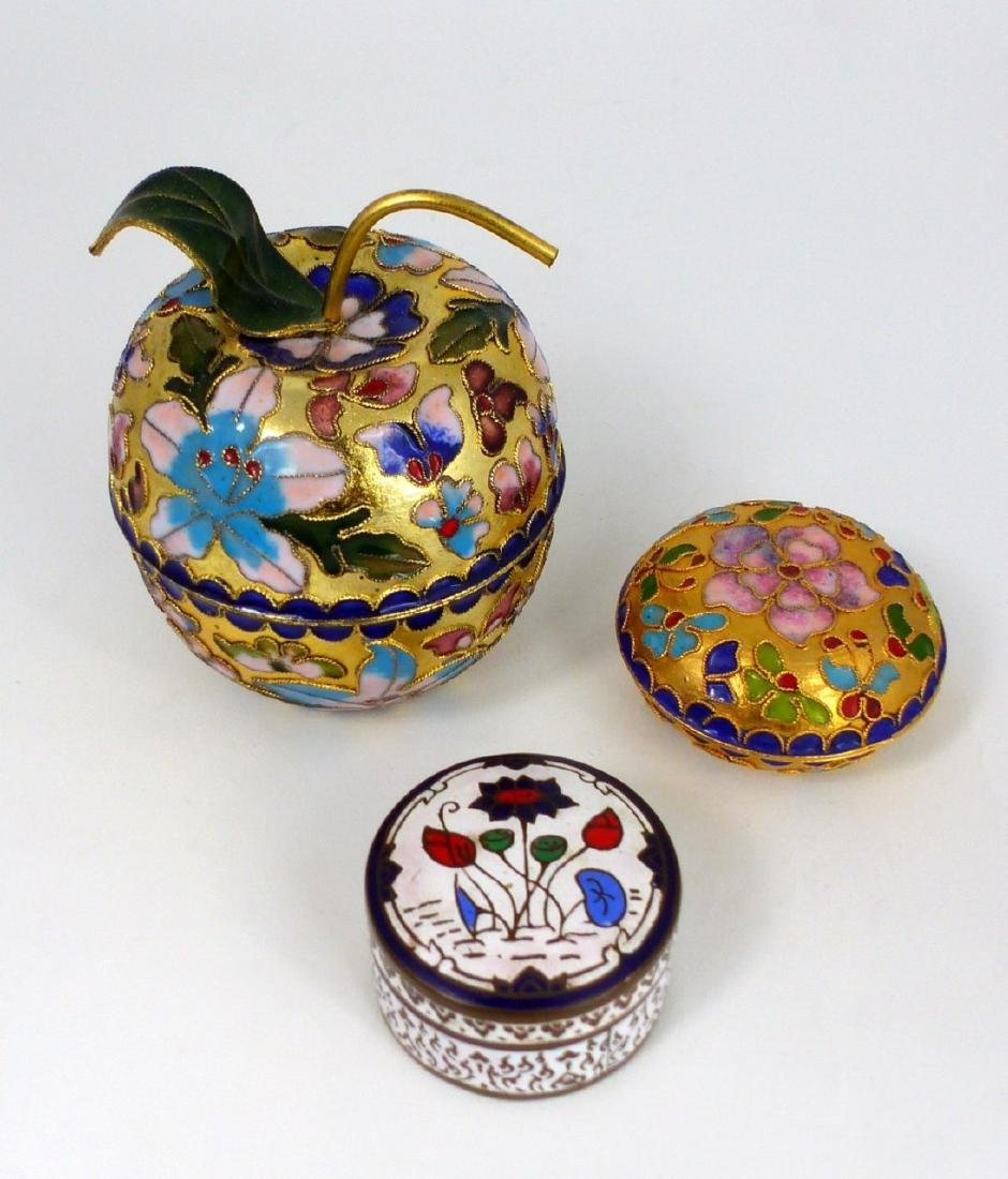 3pc CHINESE CHAMPLEVE & THAI ENAMEL COVERED BOXES - 2