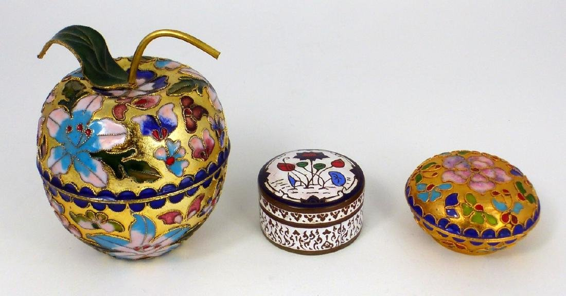 3pc CHINESE CHAMPLEVE & THAI ENAMEL COVERED BOXES - 4