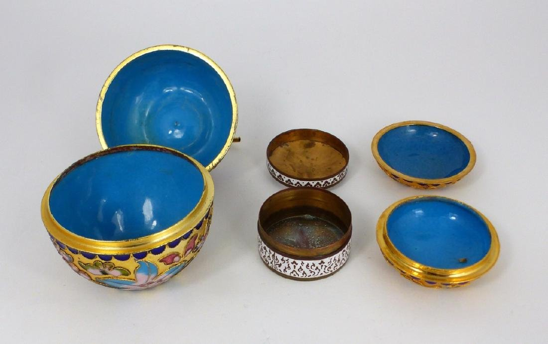 3pc CHINESE CHAMPLEVE & THAI ENAMEL COVERED BOXES - 5