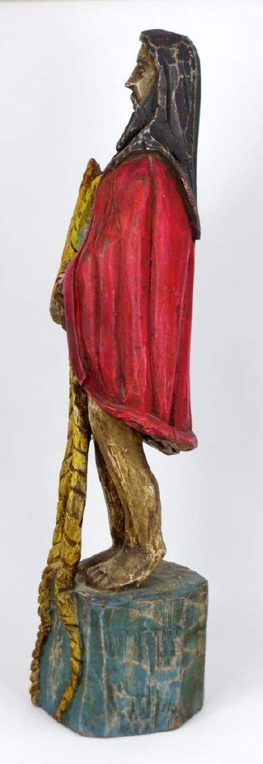 CARVED WOOD SANTOS FIGURE - 4