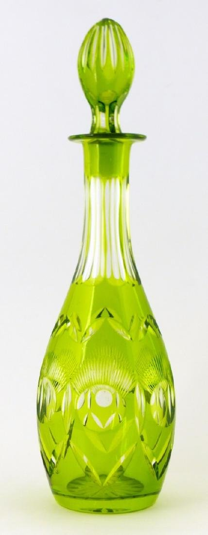 GREEN CUT TO CLEAR CRYSTAL DECANTER - 2