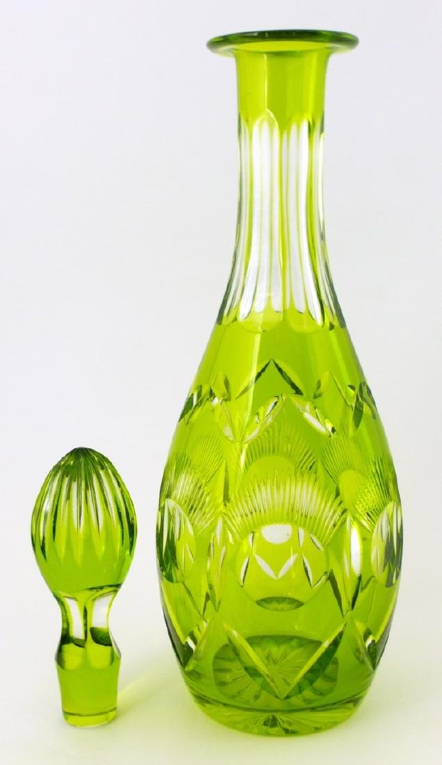 GREEN CUT TO CLEAR CRYSTAL DECANTER - 4