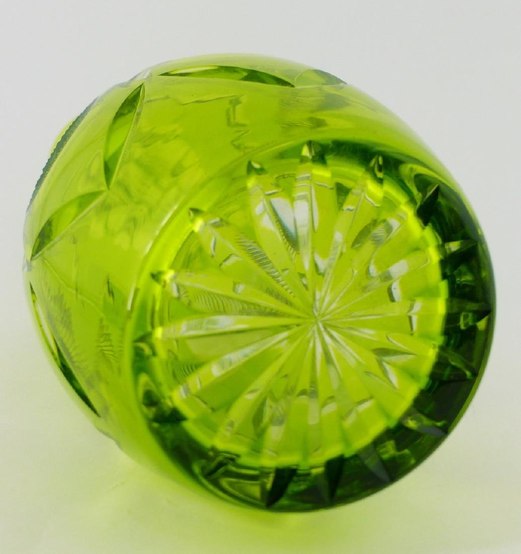 GREEN CUT TO CLEAR CRYSTAL DECANTER - 5