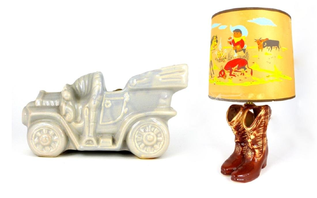 2pc MCCOY POTTERY LAMPS WESTERN BOOTS & CAR