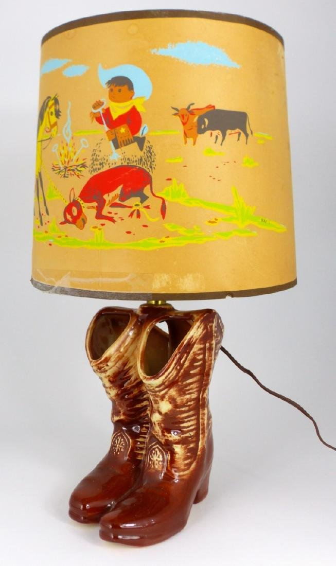 2pc MCCOY POTTERY LAMPS WESTERN BOOTS & CAR - 6