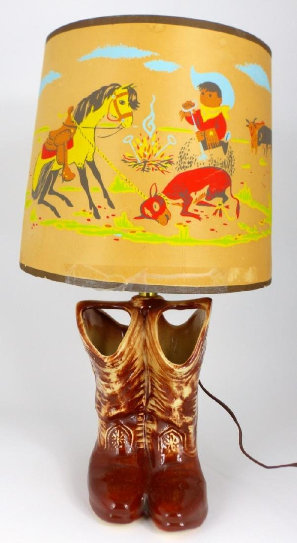 2pc MCCOY POTTERY LAMPS WESTERN BOOTS & CAR - 7
