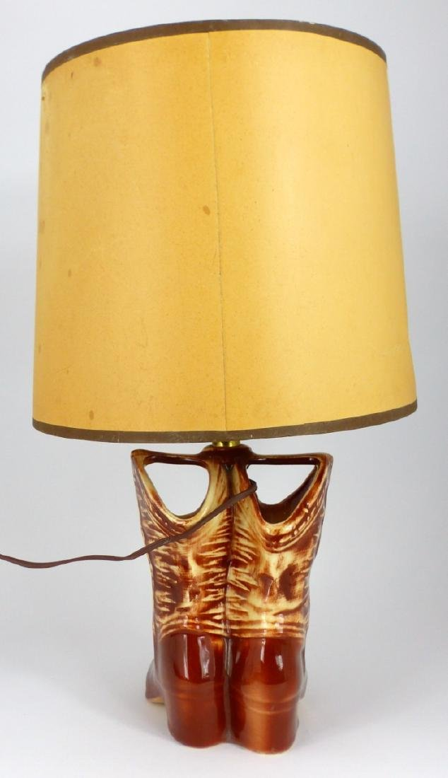 2pc MCCOY POTTERY LAMPS WESTERN BOOTS & CAR - 9