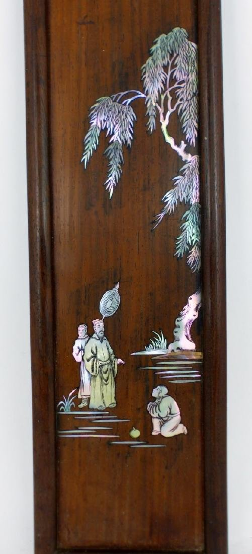 CHINESE MOTHER OF PEARL INLAID WOOD PANEL - 2