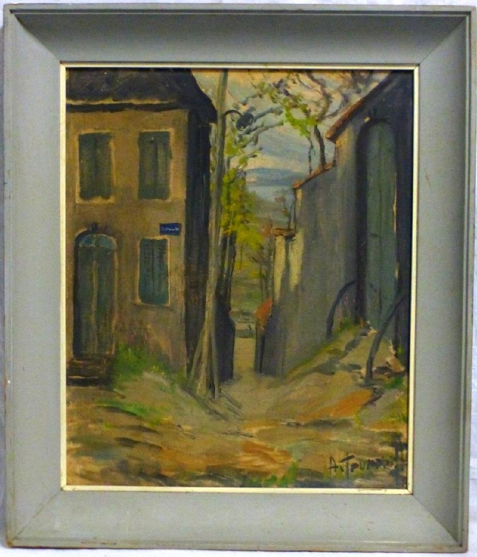 OIL PAINTING ON BOARD STREET SCENE SIGNED