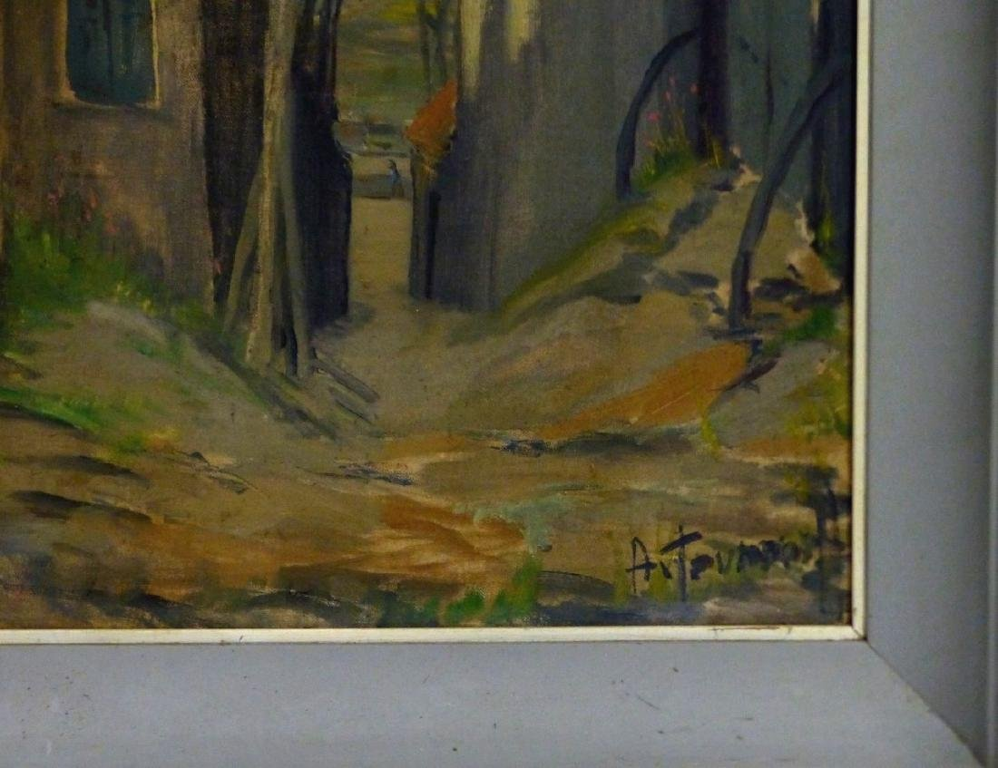 OIL PAINTING ON BOARD STREET SCENE SIGNED - 3