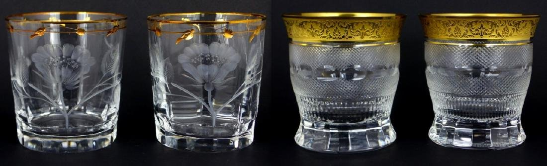 4pc MOSER OLD FASHIONED GILT CRYSTAL TUMBLERS