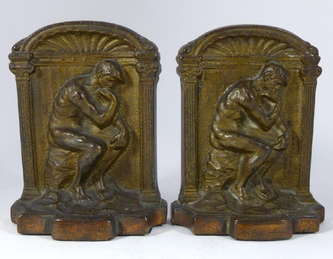 VINTAGE CAST IRON THINKER BOOKENDS