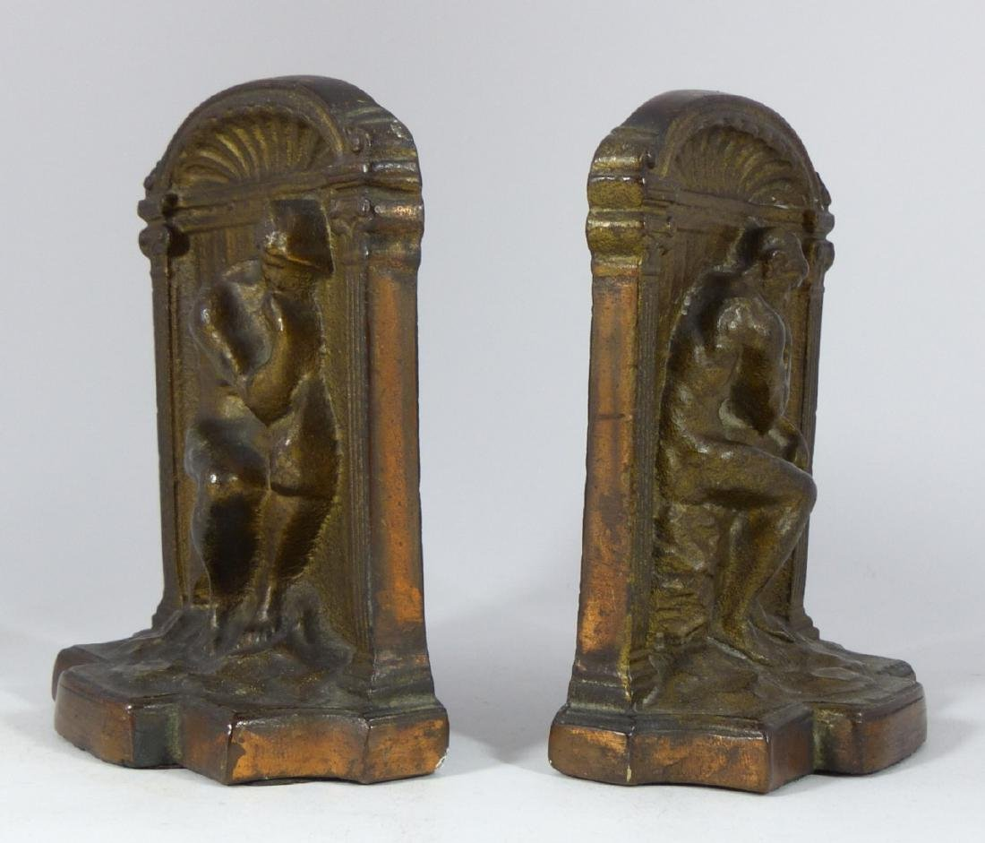 VINTAGE CAST IRON THINKER BOOKENDS - 2