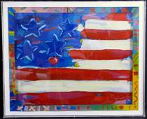 PETER MAX 'FLAG WITH HEART' SERIGRAPH