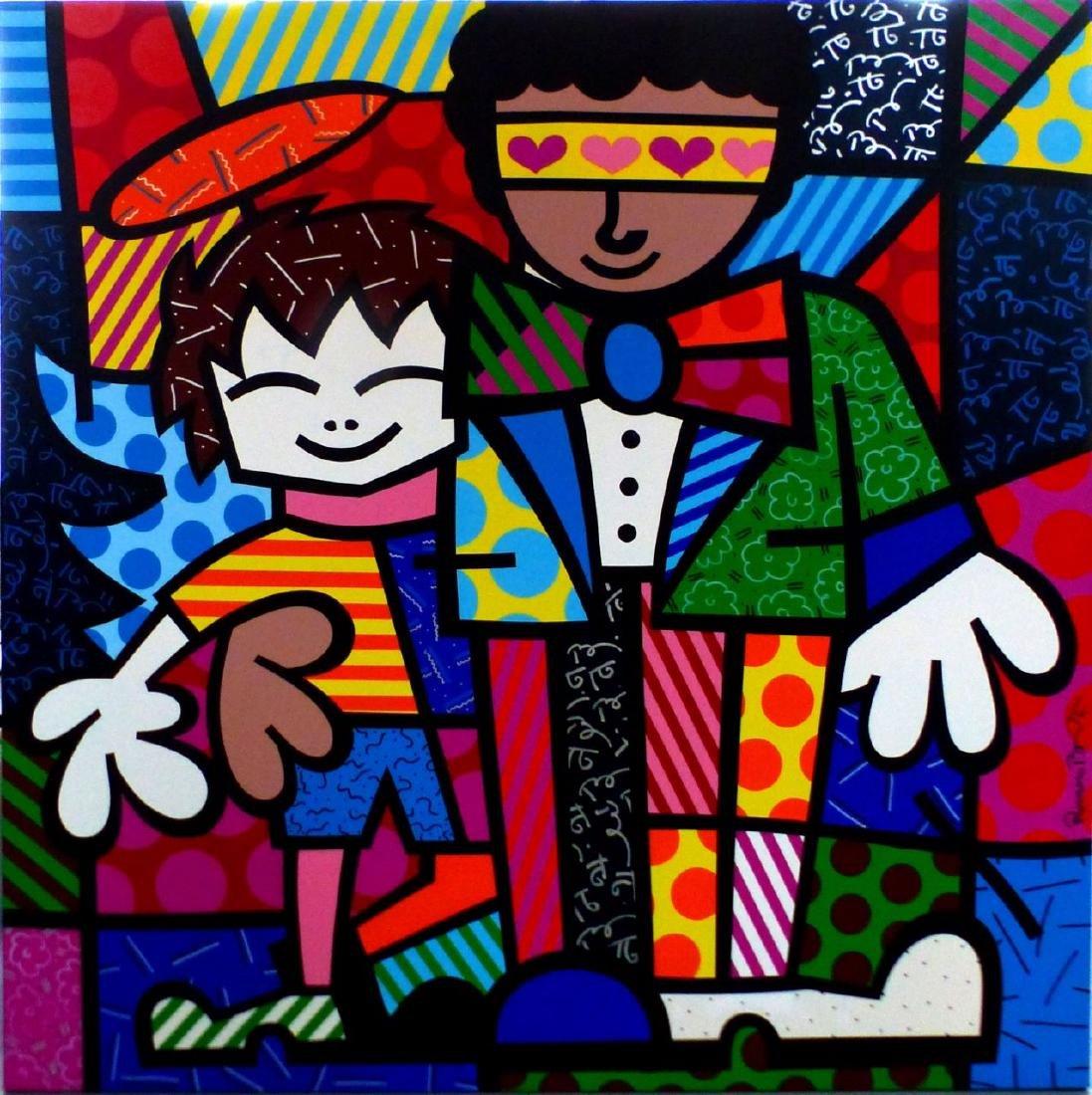 "Romero Britto Cartoon Art Oil Painting Print On Canvas Wall Deco/""A Sitting Dog/"""