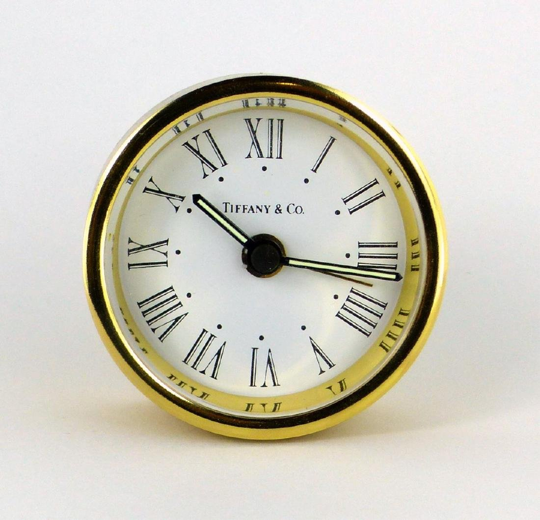 TIFFANY & CO ROUND BRASS DESK CLOCK