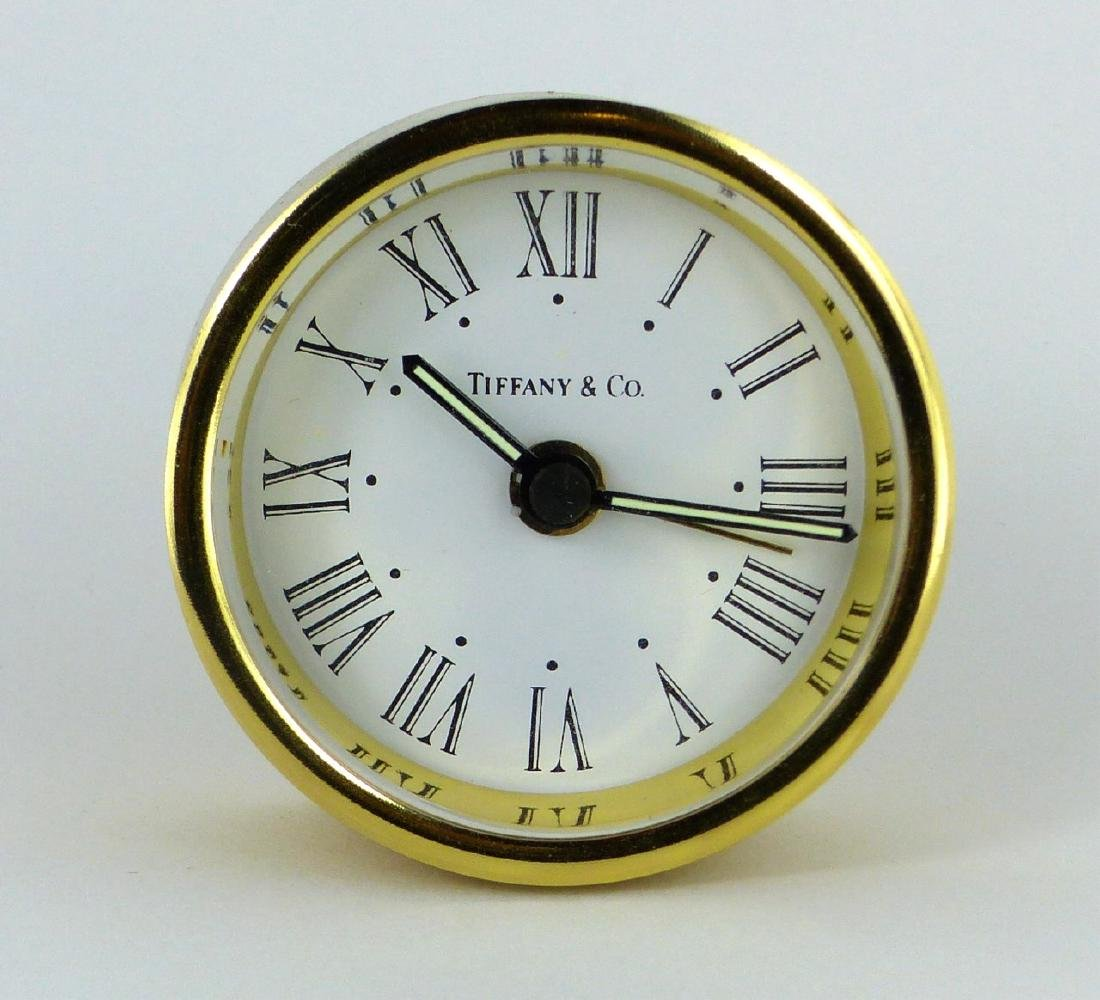 TIFFANY & CO ROUND BRASS DESK CLOCK - 2