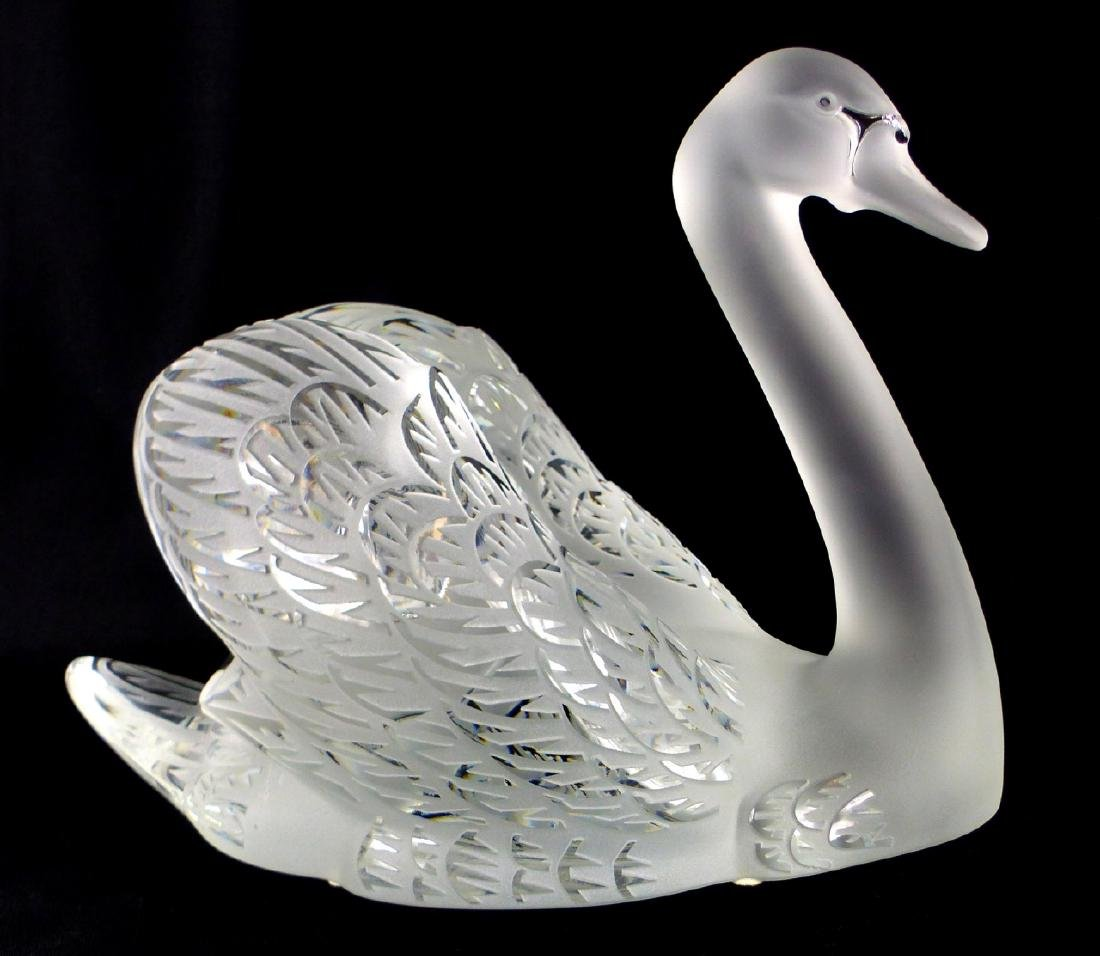PR LALIQUE FROSTED CRYSTAL SWANS - 3