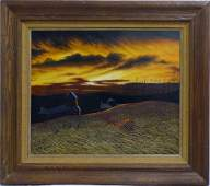 THOMAS KERRY LANDSCAPE OIL PAINTING ON BOARD