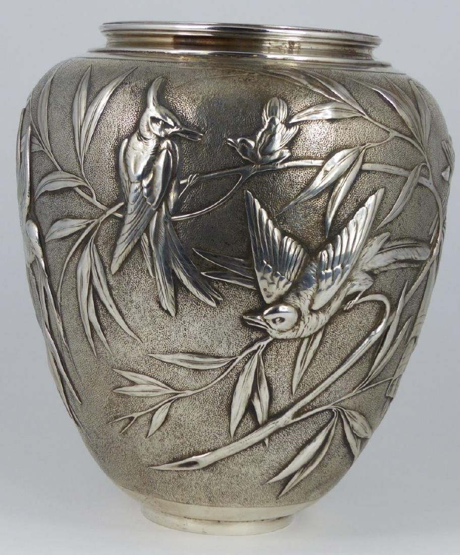 TIFFANY & CO 'JAPANESE' STERLING SILVER VASE - 2