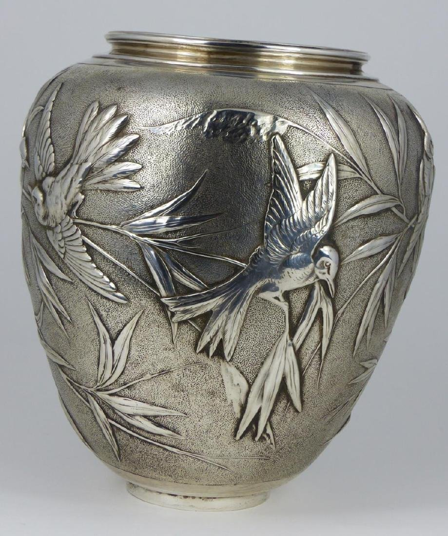 TIFFANY & CO 'JAPANESE' STERLING SILVER VASE - 3