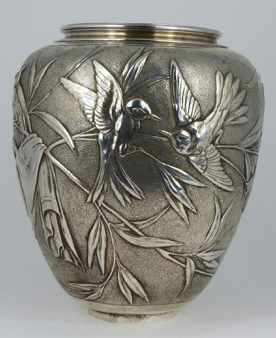 TIFFANY & CO 'JAPANESE' STERLING SILVER VASE - 4