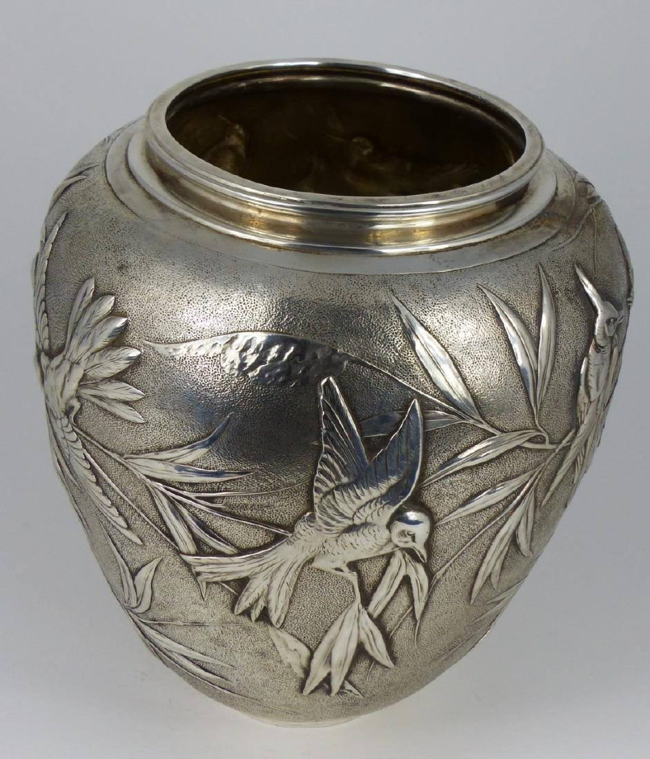 TIFFANY & CO 'JAPANESE' STERLING SILVER VASE - 8