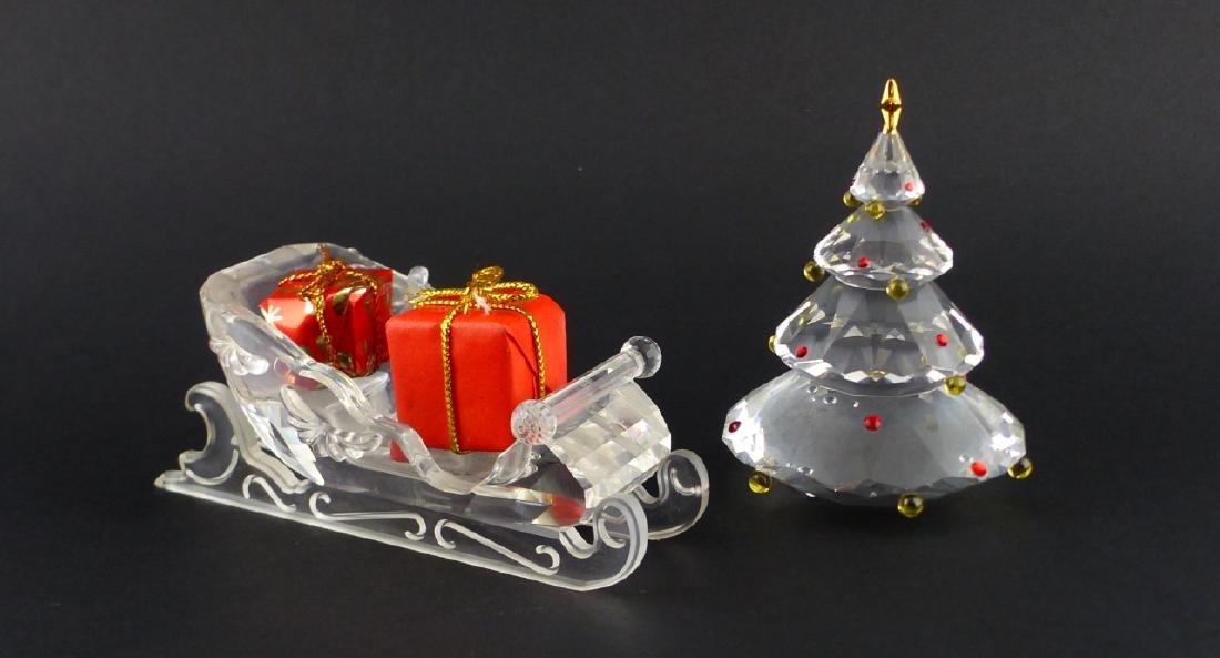 2pc SWAROVSKI CRYSTAL CHRISTMAS TREE & SLEIGH