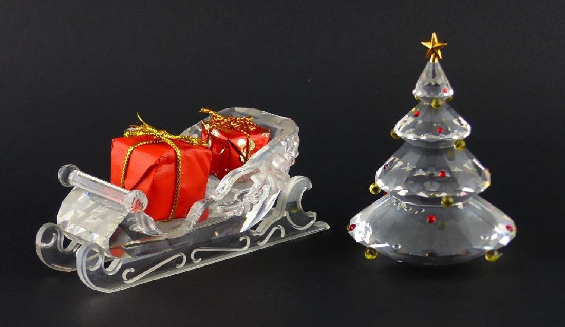 2pc SWAROVSKI CRYSTAL CHRISTMAS TREE & SLEIGH - 2