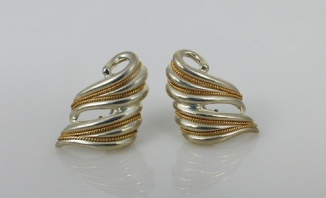 3pc TIFFANY & CO STERLING & YELLOW GOLD SUITE - 4