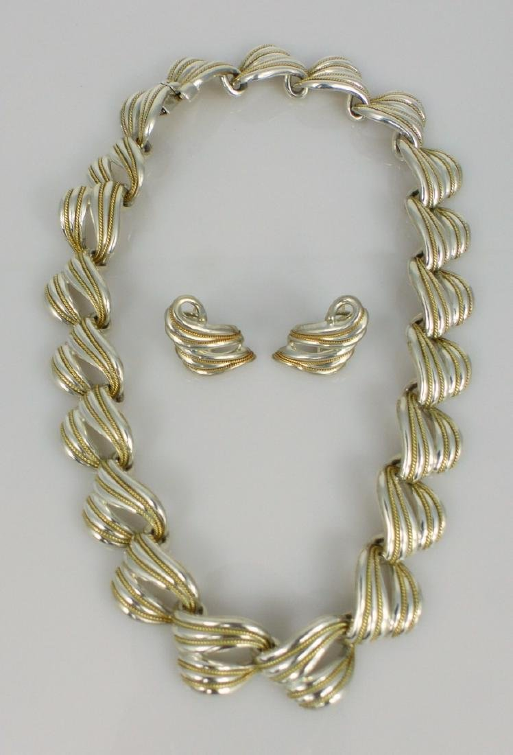 3pc TIFFANY & CO STERLING & YELLOW GOLD SUITE - 6