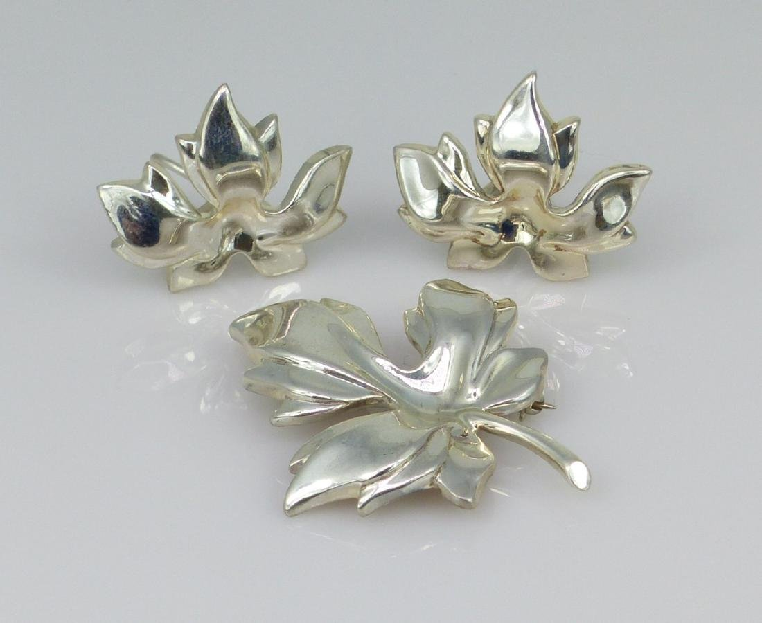 3pc TIFFANY & CO STERLING SILVER LEAF SUITE