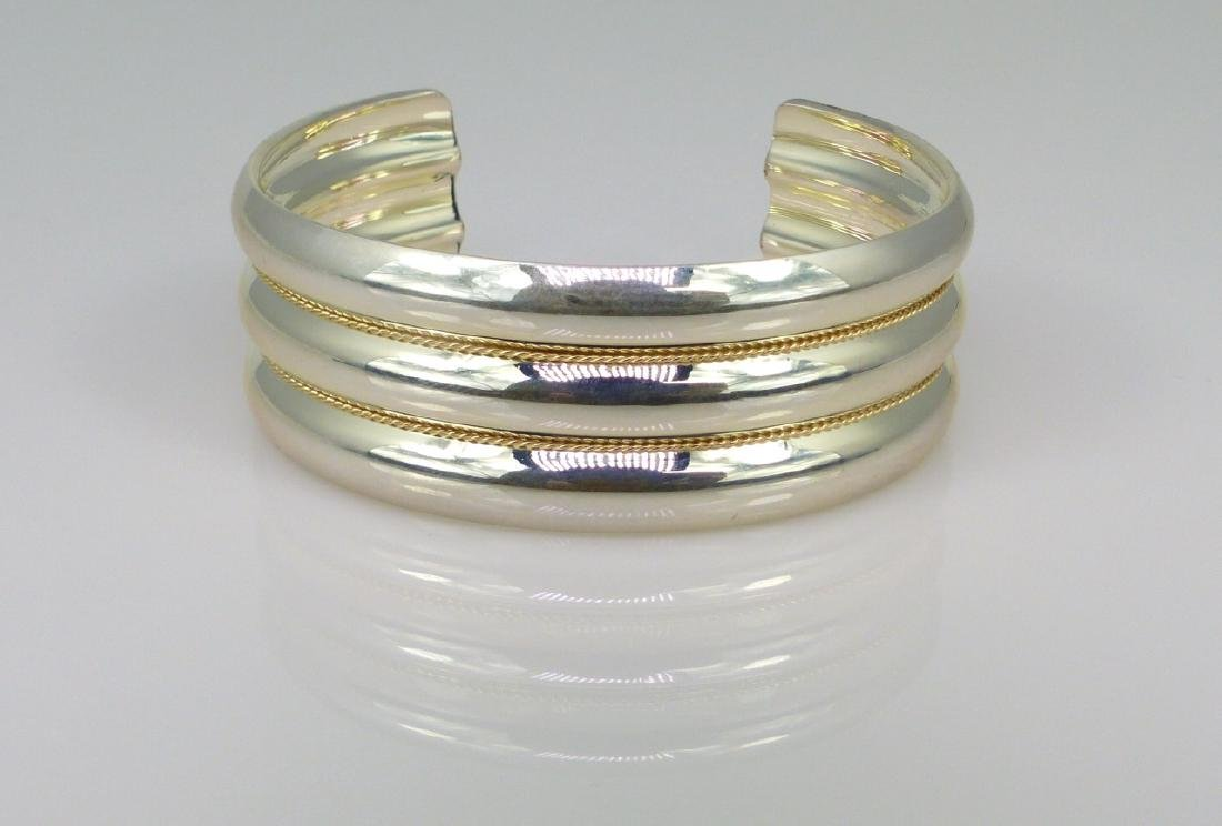 TIFFANY STERLING & 14kt YG TWISTED CUFF BRACELET