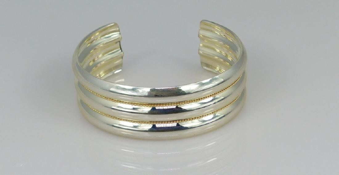 TIFFANY STERLING & 14kt YG TWISTED CUFF BRACELET - 5