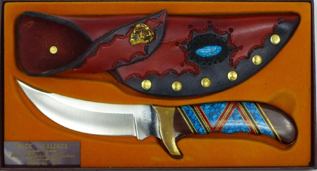 DAVID YELLOWHORSE BUCK KALINGA KNIFE w SHEATH - 3