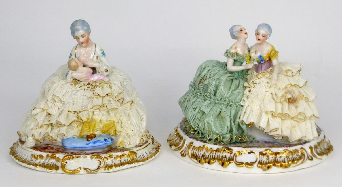 2pc DRESDEN STYLE LACE PORCELAIN FIGURAL GROUPS