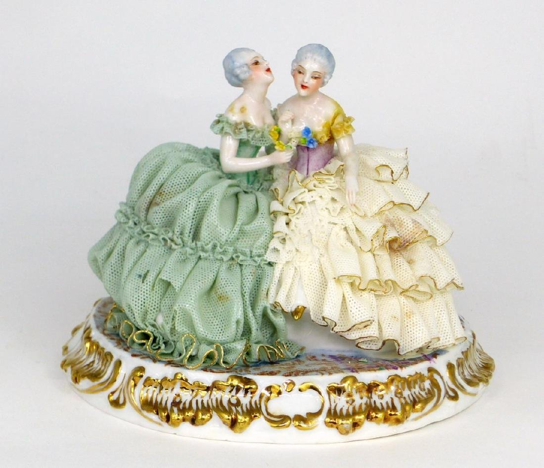 2pc DRESDEN STYLE LACE PORCELAIN FIGURAL GROUPS - 2