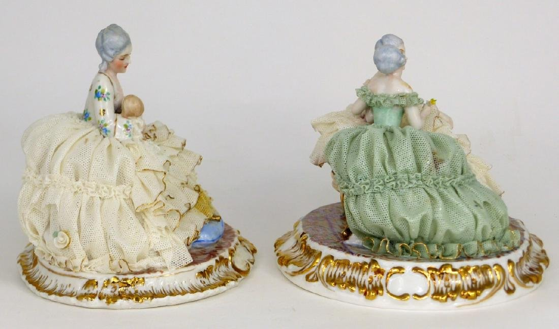2pc DRESDEN STYLE LACE PORCELAIN FIGURAL GROUPS - 4
